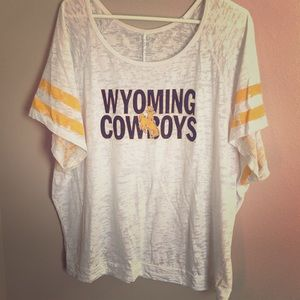 Wyoming Cowboys burnout off shoulder tee